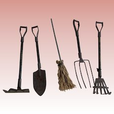 Five Miniature Long Handled Tools