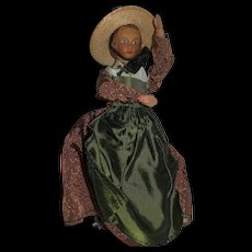 """6 1/2"""" Unusual Wooden jointed Doll Ethnically Dressed...very cool doll!"""