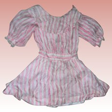 Antique textured Peachy Pink & cream Silk Dress TLC