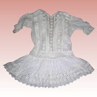 Adorable Cotton Dress for Bisque dolls in Flapper era style