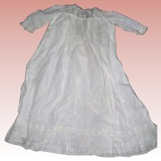 Soft Cream Batiste Christening dress with delicate lace edging