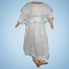 Antique 1930's Style Dress with Blue & White tatted lace, soft Batiste Material