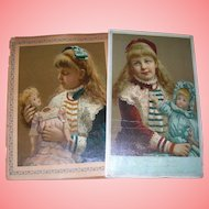 Two 1900's Prints that represent before and after/ Girl with doll Doll Doctor