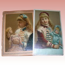 Two Victorian Prints that represent before and after/ Girl with doll Doll Doctor