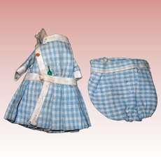 Darling Antique Blue and white checked All bisque doll suit