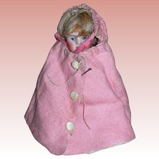 Antique Flannel Pink Cape for All bisque dolls Mignonette
