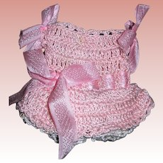 "Pink Crocheted Dress and Undies for All bisque dolls 4-6"" tall"