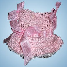 """Pink Crocheted Dress and Undies for All bisque dolls 4-6"""" tall"""