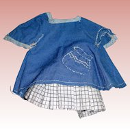 "Darling Handmade smock and pleated skirt for 5"" all Bisque dolls Mignonette"