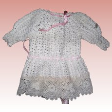 "Lovely Vintage Crocheted Dress with lace for 9-12"" dolls"
