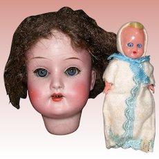 """Antique 7 1/4"""" HC Schoenau Hoffmeister Head #1909 with Baby"""