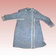 Antique Navy Blue & cream checked Dress Coat for dolls