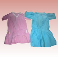 2 Vintage Cotton Drop waist dresses for Bisque Dolls.