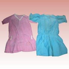 2 Vintage Cotton Drop waist dresses for Bisque Dolls.