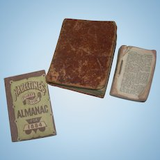 3 Antique Miniature Books; two Bibles and one Almanac