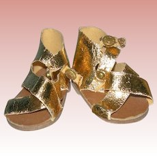 Vintage Gold Sandals with snap closures Terri Lee type