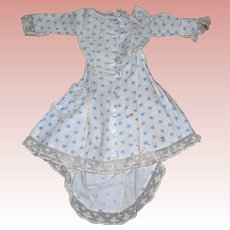 Antique Cream Cotton with Blue Cornflowers German/French Fashion Day Dress