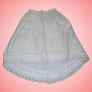 Gorgeous Clean Cotton Petticoat for French fashion Lady Bisque dolls Tuck work!