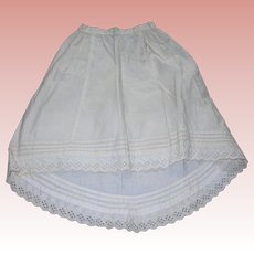 Gorgeous Antique Cotton Petticoat for German/French fashion dolls Tuck work!