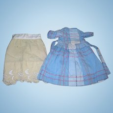 Sweet little Blue cotton textured Dress & Petticoat!