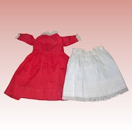 Apple Red Dress with Petticoat; tuck work!