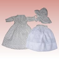 Sweet Antique Cotton  Dress, Petticoat & bonnet for small Bisque or china dolls