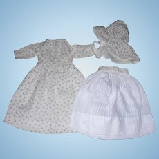 Sweet set of Cotton Attire ; Dress, Petticoat & bonnet for small Bisque or china dolls