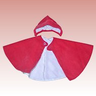 Small Vane Corduroy Cape and Hat for Vintage dolls