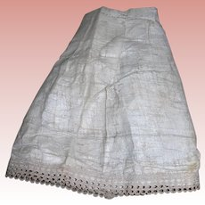 Antique Gauze petticoat for lady doll with attached bloomers