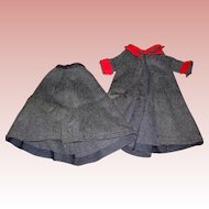 Charcoal Gray Wool suit for Lady doll; School Marne or Nurses attire