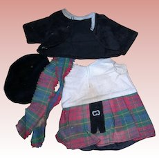 Vintage Scottish Outfit for Googly dolls or toddler bodies