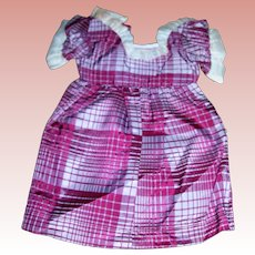 "Plaid Silk Dress for 14 to 16"" doll"