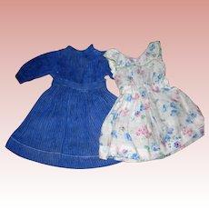 Antique Kestner Blue Dress and sweet floral Apron