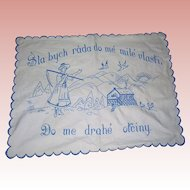 Vintage Embroidered Czech Dresser cloth; Blue