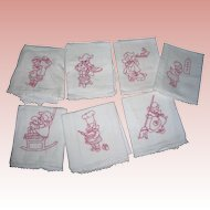 7 Vintage Days of the week Red embroidery Cloths; darling little girls