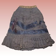 Antique Brown Fashion Skirt with Black ribbon details. TLC