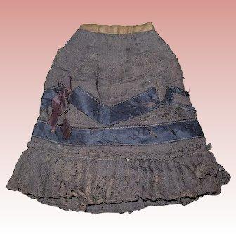 Antique Brown Fashion Skirt with Black ribbon details. TLC