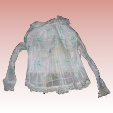 1880's Style Cotton Lady Blouse; windowpane details with blue flowers