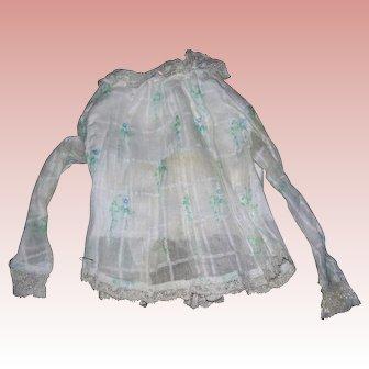 Antique Cotton Lady Blouse; windowpane details with blue flowers