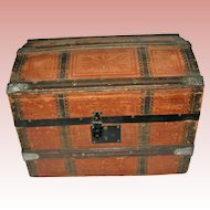 Marvelous Antique Dome Trunk with shelf and lidded compartment