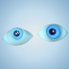 4 Pinched Domed Blown Glass Blue eyes for dolls