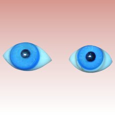 4 Pinched Domed Blown Glass Blue eyes for dolls #2