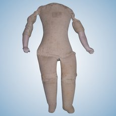 """Antique Cotton 8 1/4"""" Cloth Body with bisque arms"""