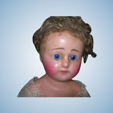 "25"" Antique Wax over Composition Doll in Original Factory Clothing TLC"