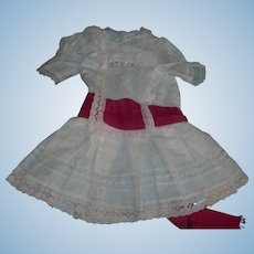 Darling antique Cotton Dress for German Bisque doll