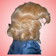 "7"" Vintage Light Golden Blond Mohair HP or Compo Wig"