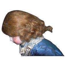 """9"""" Vintage Paper pate, Brown Mohair wig"""