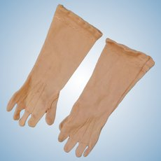 Antique French 5.5 Inch Silk  Elbow Length Gloves/no stain