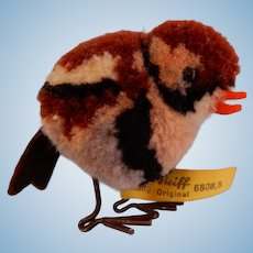 Small Steiff Pom Sparrow with Moving  Wire legs