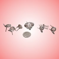 Teeny Miniature Silver Stools and Settee